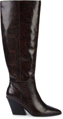 Dolce Vita Isobel Embossed-Snakeskin Leather Knee-High Boots