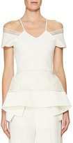 Roland Mouret Strappy-Trim Off-the-Shoulder Peplum Top, White