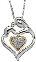 Lord & Taylor Diamond, Sterling Silver and 14K Yellow Gold Heart Mother and Child Necklace
