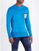 Balmain Mariniere relief badge-patch linen knitted jumper