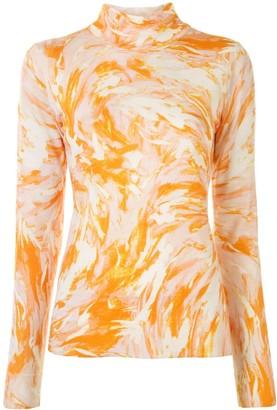 Proenza Schouler Tie-Dye Print High Neck Top