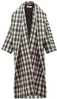 Balenciaga Shawl-lapel Checked Wool-blend Oversized Coat - Womens - Black White