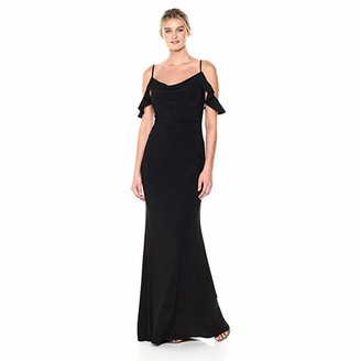Laundry by Shelli Segal Women's Cowl Neck & Cold Shoulder Flutter Sleeve Knit Gown