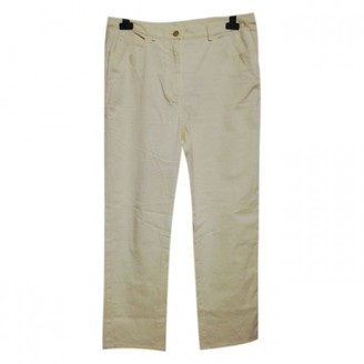 Salvatore Ferragamo Yellow Cotton Trousers