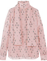 Valentino Printed Silk Crepe De Chine Blouse - Pastel pink
