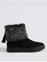 M&S Collection Side Zip Tassel Faux Fur Ankle Boots