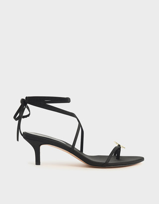 Charles & Keith Metal Accent Satin Sandals