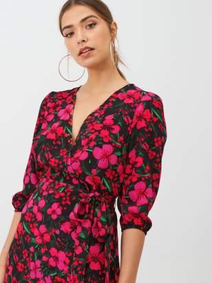 Very Printed Tie Waist Wrap Dress - Pink/Floral