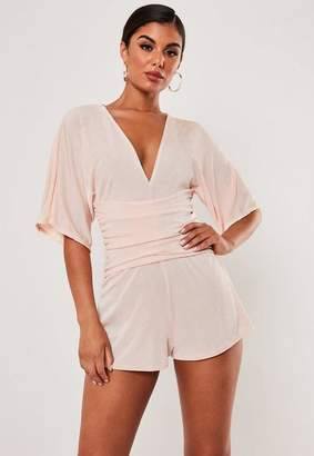 Missguided Blush Kimono Ruched Belted Romper
