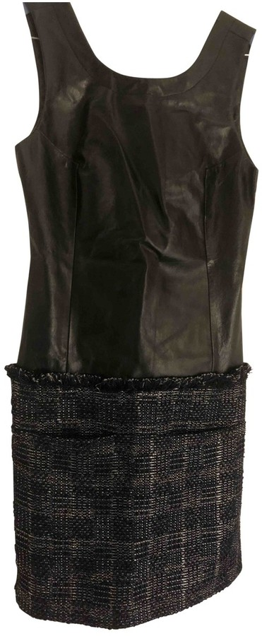 Theyskens' Theory Black Leather Dresses