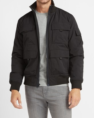 Express Black Water-Resistant Utility Bomber Jacket