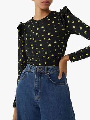 Warehouse Micro Floral Ruffle Sleeve Top, Black