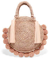 Loeffler Randall Circle Pompom-embellished Leather-trimmed Straw Tote - Blush