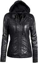 Partiss Women's PU Leather Motorcycle Jacket With Hoodie