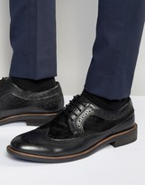 Dune Pony Hair Brogues In Black Leather