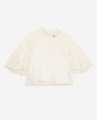 The Kooples Ecru lace top with high neck and frills