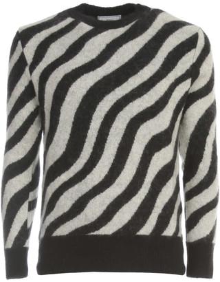 Ami Alexandre Mattiussi Crewneck Zebra Striped Sweater Mohair Wool Blend Gauze 7 Knit