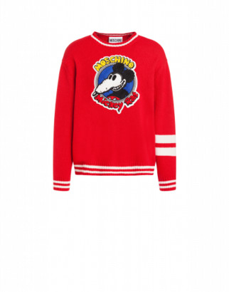 Moschino Mickey Rat Pullover Man Red Size 44 It - (34 Us)