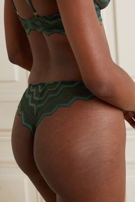 Coco de Mer Muse Margot Embroidered Stretch-lace Briefs - Green