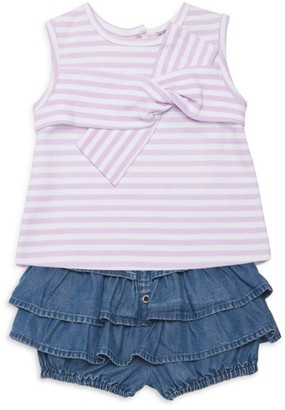 Habitual Little Girl's Rosi 2-Piece Striped Top & Ruffle Denim Shorts Set