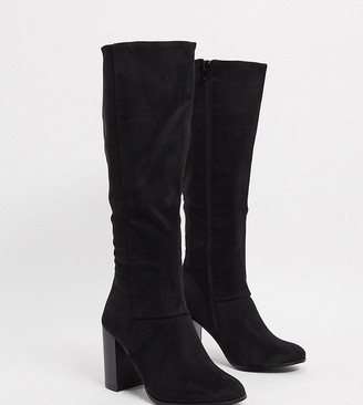 ASOS DESIGN Wide Fit Cuba knee boots in black