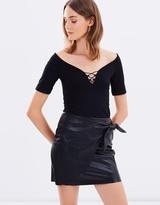 Miss Selfridge PU Wrap Skirt
