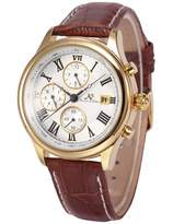 K&S KS Men's Gold Case 6 Hands Date Day Month Display Automatic Mechanical Leather Watch KS146