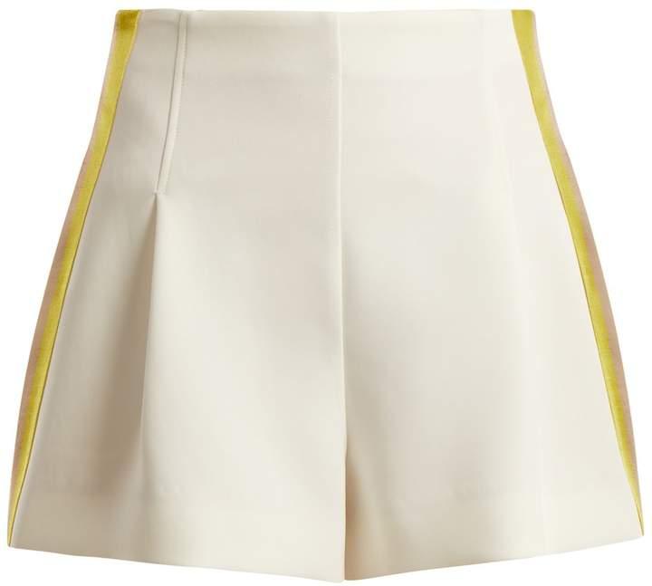 Diane von Furstenberg High-rise side-striped crepe shorts