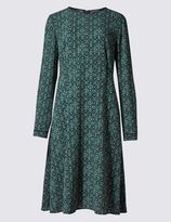 Marks and Spencer Printed Lined Long Sleeve Fit & Flare Dress