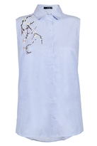 Quiz Blue Stripe Embroidered Sleeveless Top