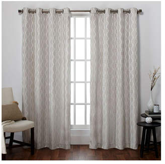 Exclusive Home Baroque Textured Linen Look Jacquard Grommet Top Curtain Panel Pair