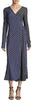 Diane von Furstenberg Long-Sleeve Midi Woven Silk Wrap Dress