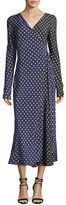Diane von Furstenberg Long-Sleeve Midi Woven Silk Wrap Dress