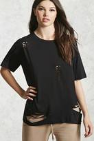 Forever 21 FOREVER 21+ Distressed Crew Neck Tee