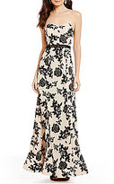 B. Darlin Floral-Flocked Strapless Mermaid Dress