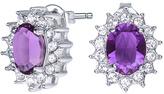 Purple & Silvertone Windsor Earrings With Swarovski® Crystals