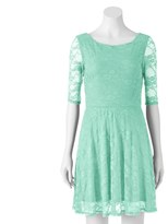 Wrapper Juniors' Floral Lace Skater Dress