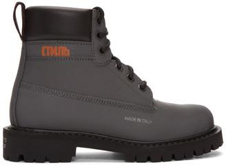 Heron Preston Black Reflective Worker Boots
