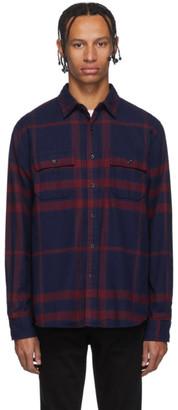 Frame Navy Refined Plaid Shirt