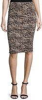 Vince Camuto Women's Tribal Leopard Ruched Midi Tube Skirt