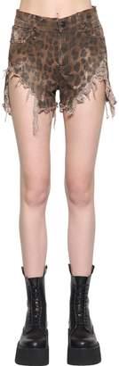 R 13 Shredded Leopard Printed Slouch Shorts