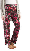 Glam Green & Red Floral Straight-Leg Maternity Pants