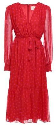 Kate Spade Wrap-effect Belted Printed Silk-chiffon Midi Dress