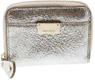 Jimmy Choo Metallic Silver Leather Compact Wallet