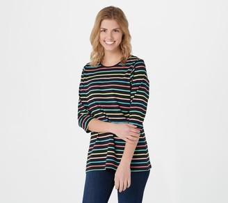 Denim & Co. Yarn Dye Stripe Perfect Jersey Round-Neck 3/4- Sleeve Top
