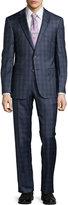 HUGO BOSS Modern-Fit T-Howard2/Court Wool-Blend Two-Piece Suit w/Plaid Print, Open Blue