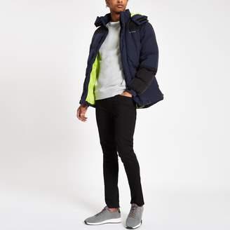 Bellfield Mens River Island colour block padded hooded jacket