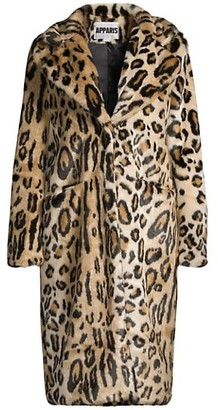 Apparis Karlie Leopard-Print Longline Faux-Fur Coat