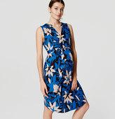 LOFT Petite Maternity Tiled Cap Sleeve Shirtdress