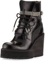 Fenty Puma by Rihanna Leather Wedge Chain Ankle Boot, Black